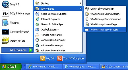 wwwinamp start menu entry