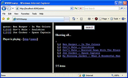 wwwinamp running in a browser