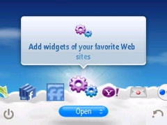 main yahoo go interface with add widgets widget selected