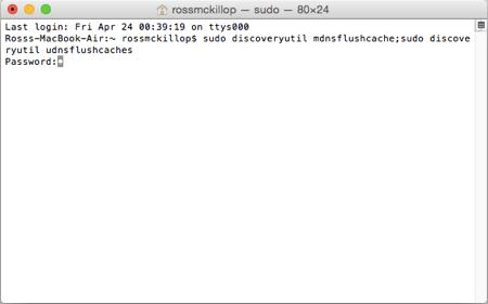 Terminal en OSX borrando DNS en Yosmite