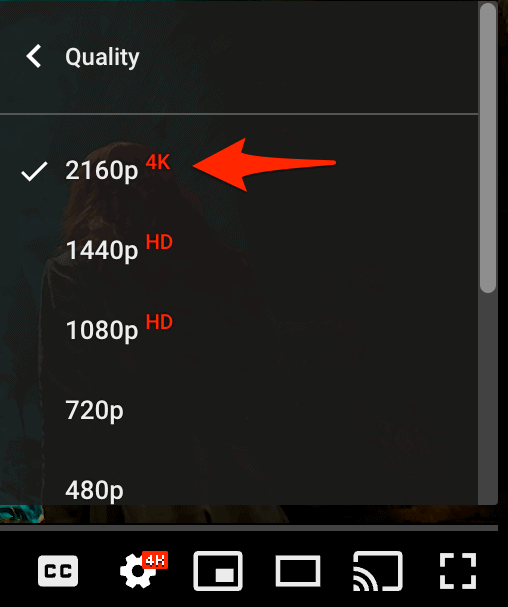 list of quality settings for a YouTube video