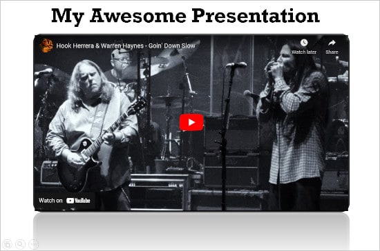 a preview screen of a PowerPoint presentation with a YouTube video in one of the slides