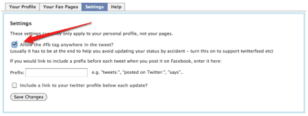 selective twitter to facebook settings