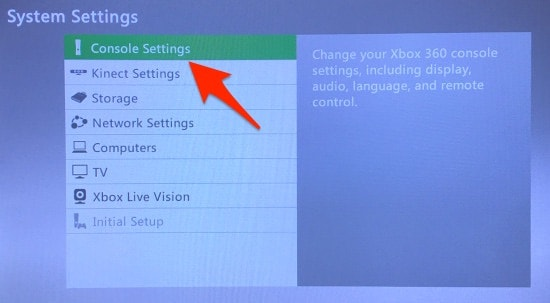 The Xbox 360 System Settings with Console Settings highlighted