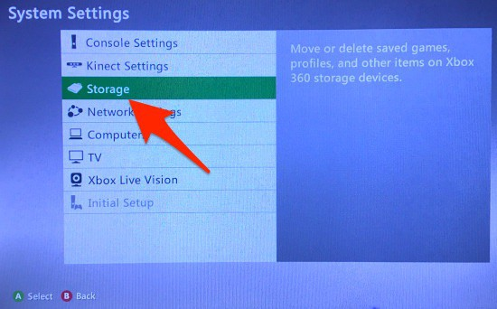 The Xbox 360 System Settings with Storage highlighted