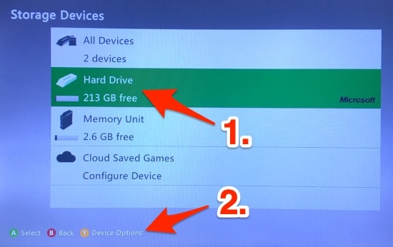 The Xbox 360 Storage Devices list