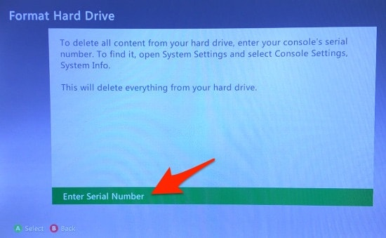 The Xbox 360 Format Hard Drive window