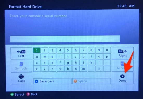 The Xbox 360 Format Hard Drive serial number window