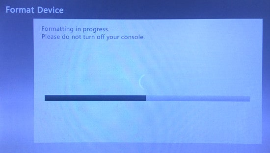 The Xbox 360 Formatting Device in progress