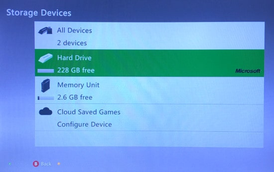 The Xbox 360 Storage Devices list with the Hard Drive formatted