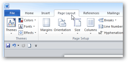 Page Layout in ms Word 2010 Microsoft Word 2010 Page