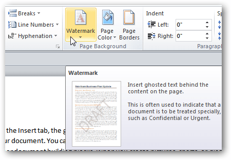 how to add watermark in word 2007